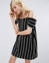 Greylin Riya Stripe Cold Shoulder Dress