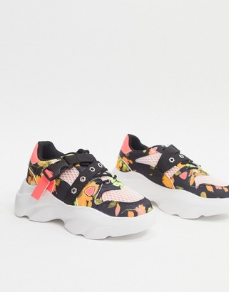 ASOS DESIGN Darcy chunky lace up trainers in floral