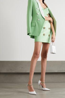 Balmain - Off-the-shoulder Ruched Crystal-embellished Crepe Mini Dress - Green
