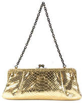 Donald J Pliner Gold Metallic Leather Twist Lock Clutch Handbag