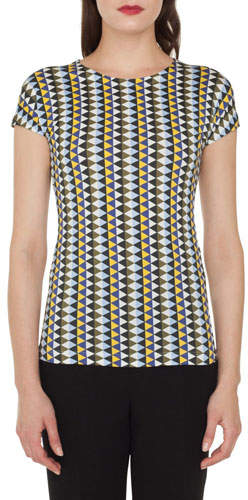 Akris Round-Neck Cap-Sleeve Diamond-Stripe Cotton Jersey T-Shirt