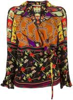 Etro ruffle neck top - women - Silk - 38
