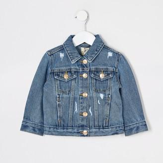 River Island Mini girls Blue ripped denim jacket