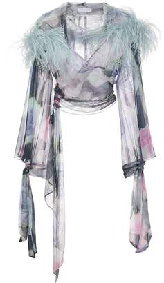 Fantabody marabou feather wrap top