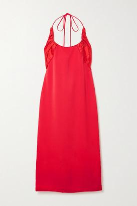 Renaissance Renaissance Flash Crepe And Ruched Silk-satin Halterneck Midi Dress - Red