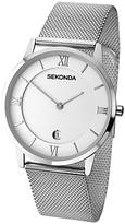 Sekonda Date Mesh Bracelet Strap Watch, Silver/white