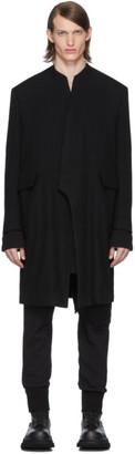 Julius Black Collarless Tailored Coat