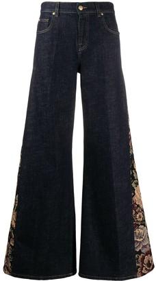 L'Autre Chose Floral-Panelled Wide-Leg Jeans