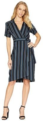 Nanette Lepore Serenity Stripe Wrap Shirtdress (Black/Azure) Women's Dress