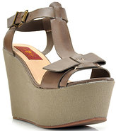 7 For All Mankind Kalistoga - Smoke Grey Leather Wedge Sandal