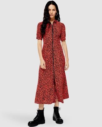Topshop Zip-Through Shirt Dress