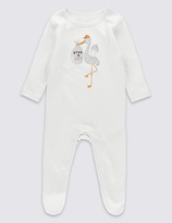 Marks and Spencer Pure Cotton Born in 2017 Sleepsuit