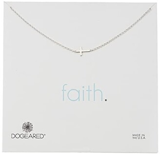 Dogeared Faith, Small Sideways Cross Necklace (Silver) Necklace