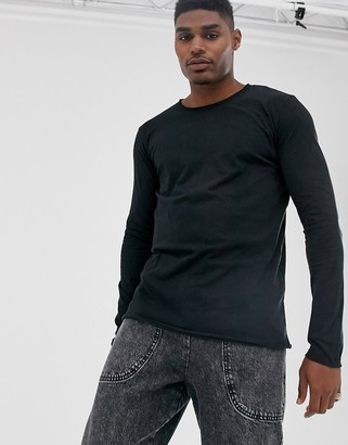 Replay raw hem long sleeve t-shirt in black