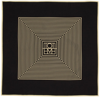 Totême Black and Off-White Silk Venezia Scarf