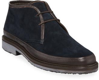 Ermenegildo Zegna Men's Trivero Suede Chukka Boots with Mud Guard, Blue