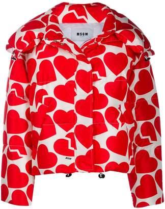 MSGM heart print puffer jacket