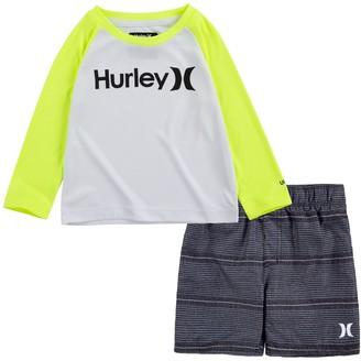 Hurley Baby Boy UPF 50+ Raglan Rash Guard Top & Board Shorts 2-Piece Set