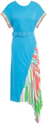 Emilio Pucci Asymmetric Belted Printed Jersey Midi Dress