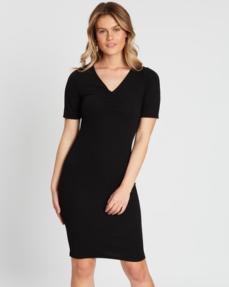 Dorothy Perkins V-Neck Ruched Bodycon Dress
