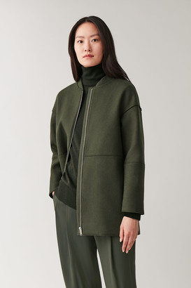 Cos BOILED WOOL COAT WITH BOMBER COLLAR