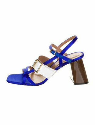 Marni Colorblock Pattern Gladiator Sandals Blue