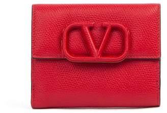 Valentino Garavani V Logo Red Leather Wallet