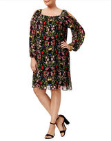 I.N.C International Concepts Plus Floral Printed and Pleated Dress