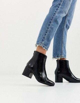 New Look square toe PU boot in black