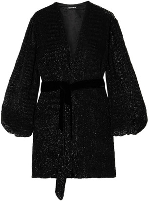 retrofete Gabrielle Velvet-trimmed Sequined Chiffon Mini Wrap Dress