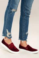 Chinese Laundry Franklin Merlot Velvet Slip-On Sneakers