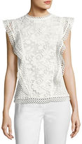 Ted Baker Zania Floral Guipure Lace Ruffle-Trim Top