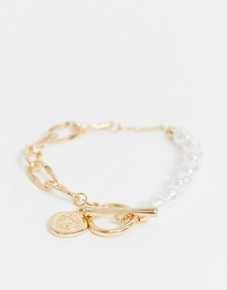 ASOS DESIGN t bar bracelet with faux pearls and coin charm in gold tone