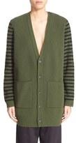 MM6 MAISON MARGIELA Button Sleeve Stripe Wool Cardigan
