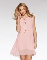 Quiz Sleeveless Tunic Dress With Necklace