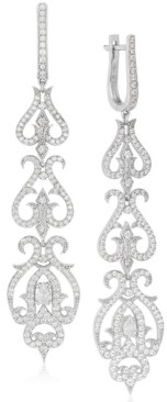 Rhona Sutton Tapered Crystal Damask Sterling Silver Drop Earring