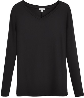 Cuyana Slim Wide V-Neck Long Sleeve Tee