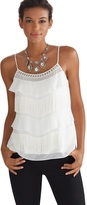 White House Black Market Tiered Fringe Embellished Cami