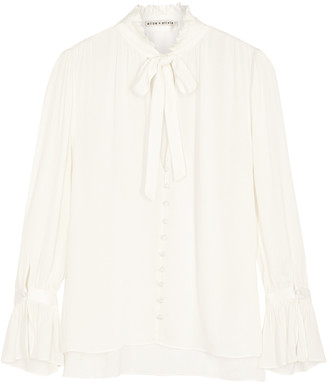 Alice + Olivia Reilly ruffle-trimmed georgette blouse
