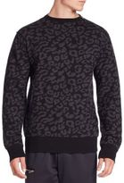Ovadia & Sons Leopard Crewneck Merino Wool Sweater