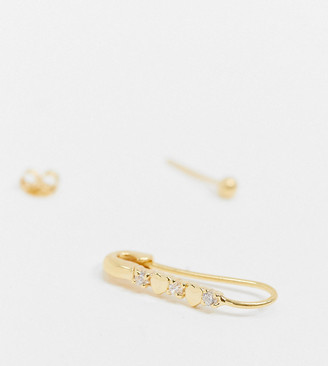 ASOS DESIGN sterling silver with gold plate safety pin earring with crystal stars and stud
