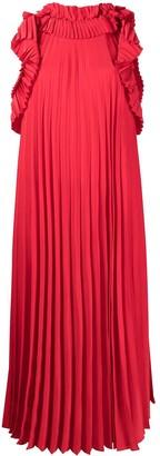 P.A.R.O.S.H. Ruffled Pleated Midi Dress