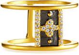 Freida Rothman Crystal Clover Cuff Ring