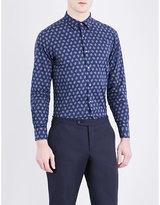 Boglioli Floral-print Slim-fit Button-down Cotton Shirt