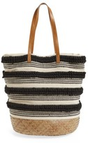 Sole Society Woven Bottom Tote - Black