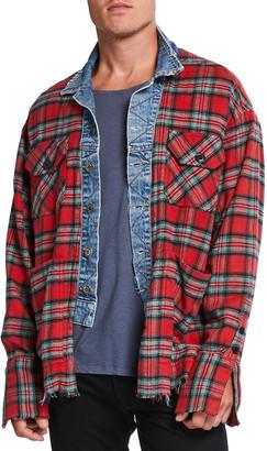 Greg Lauren Men's Flannel Trucker-Front Patched Sport Shirt