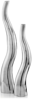 """HomeRoots 3.5"""" X 6"""" X 32"""" Buffed, Curve, Tall, Wiggly - Vases Set Of 2"""
