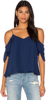 Haute Hippie Button Back Cold Shoulder Blouse