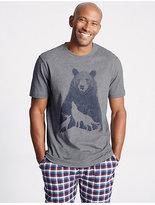 M&S Collection Pure Cotton Printed Pyjama Top