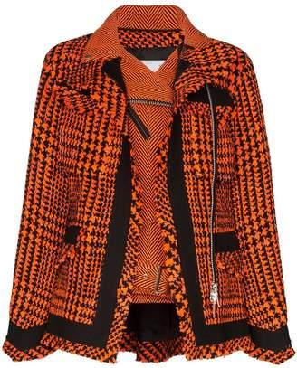 Sacai double-layer houndstooth jacket